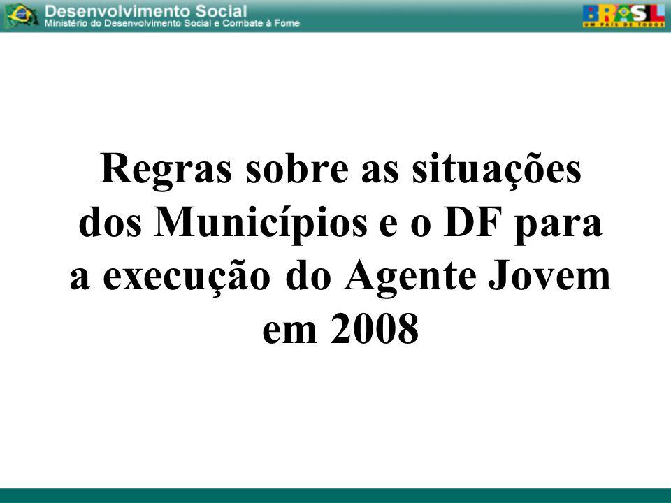 Regras sobre as situações dos Municípios e o DF para a execução do Agente Jovem em 2008