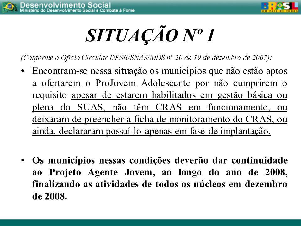 SITUAÇÃO Nº 1 (Conforme o Ofício Circular DPSB/SNAS/MDS n° 20 de 19 de dezembro de 2007): Encontram-se nessa situação os municípios que não estão apto