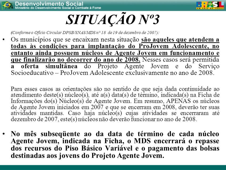 SITUAÇÃO Nº3 (Conforme o Ofício Circular DPSB/SNAS/MDS n° 18 de 19 de dezembro de 2007): Os municípios que se encaixam nesta situação são aqueles que