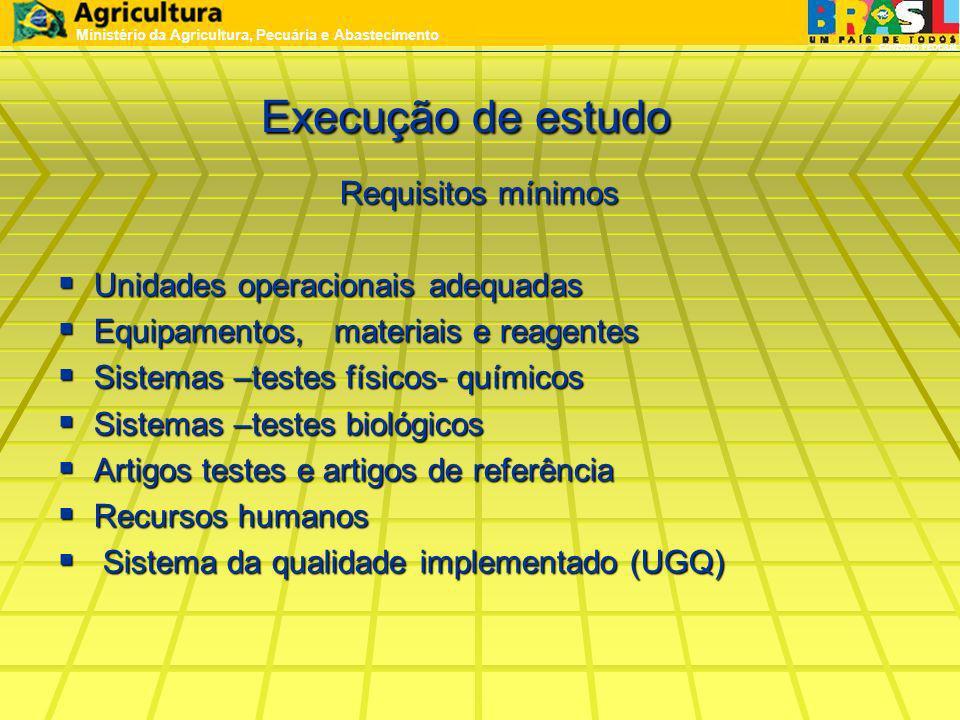 Execução de estudo Requisitos mínimos Unidades operacionais adequadas Unidades operacionais adequadas Equipamentos, materiais e reagentes Equipamentos