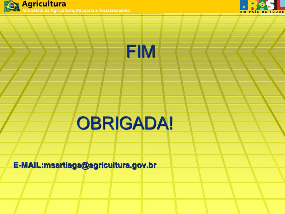FIM OBRIGADA! OBRIGADA!E-MAIL:msartiaga@agricultura.gov.br Ministério da Agricultura, Pecuária e Abastecimento GOVERNO FEDERAL