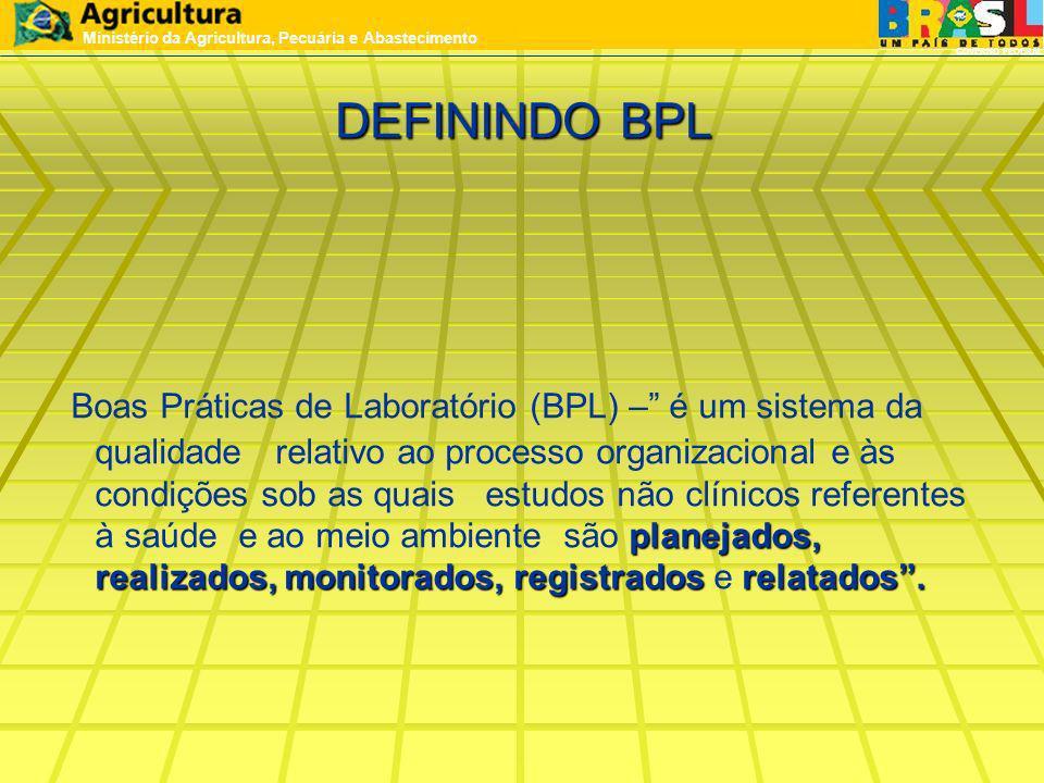 DEFININDO BPL planejados, realizados,monitorados,registradosrelatados. Boas Práticas de Laboratório (BPL) – é um sistema da qualidade relativo ao proc