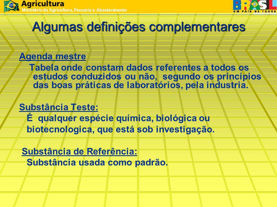 Algumas definições complementares Agenda mestre Tabela onde constam dados referentes a todos os estudos conduzidos ou não, segundo os princípios das b
