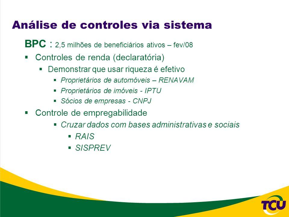 Análise de controles via sistema BPC : 2,5 milhões de beneficiários ativos – fev/08 Controles de renda (declaratória) Demonstrar que usar riqueza é ef