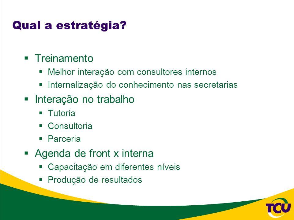 Qual a estratégia? Treinamento Melhor interação com consultores internos Internalização do conhecimento nas secretarias Interação no trabalho Tutoria