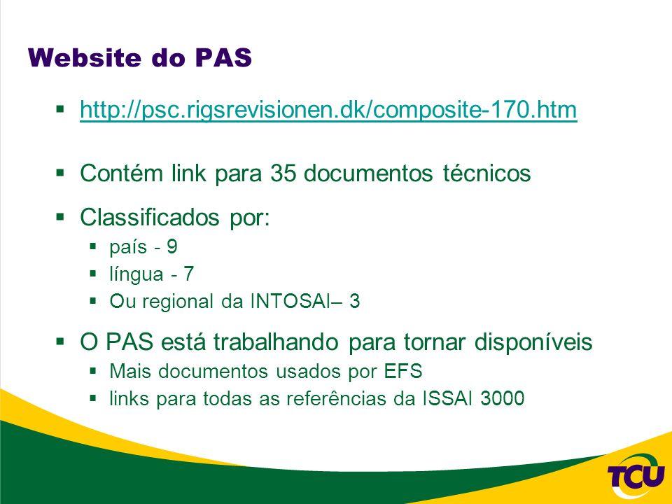 Website do PAS http://psc.rigsrevisionen.dk/composite-170.htm Contém link para 35 documentos técnicos Classificados por: país - 9 língua - 7 Ou region