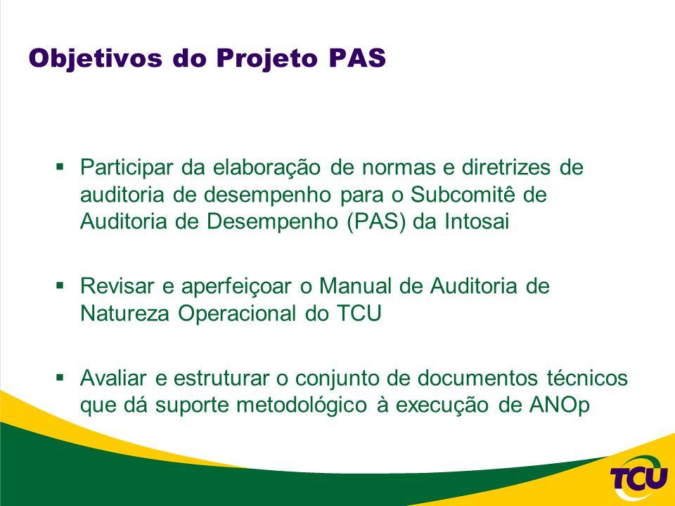 Objetivos do Projeto PAS Participar da elaboração de normas e diretrizes de auditoria de desempenho para o Subcomitê de Auditoria de Desempenho (PAS)