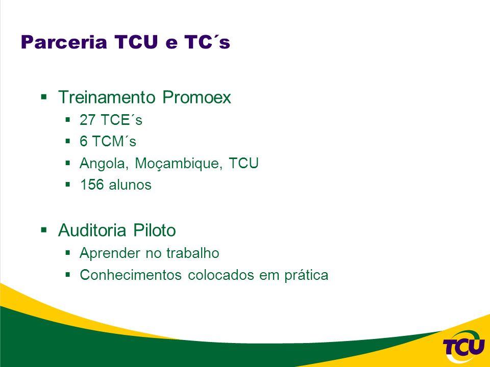 Parceria TCU e TC´s Treinamento Promoex 27 TCE´s 6 TCM´s Angola, Moçambique, TCU 156 alunos Auditoria Piloto Aprender no trabalho Conhecimentos coloca