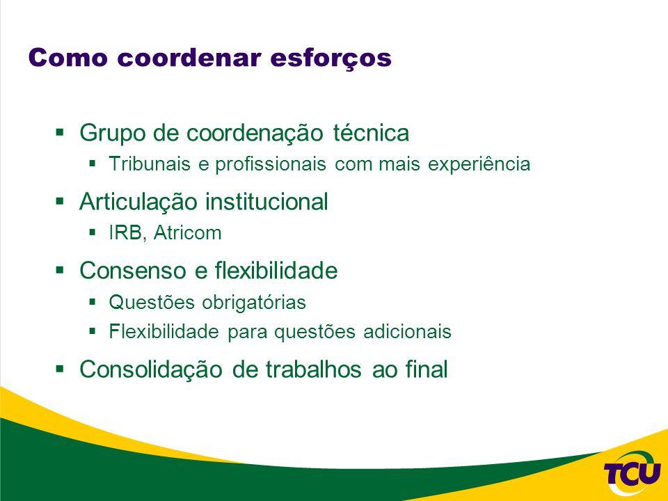 Como coordenar esforços Grupo de coordenação técnica Tribunais e profissionais com mais experiência Articulação institucional IRB, Atricom Consenso e