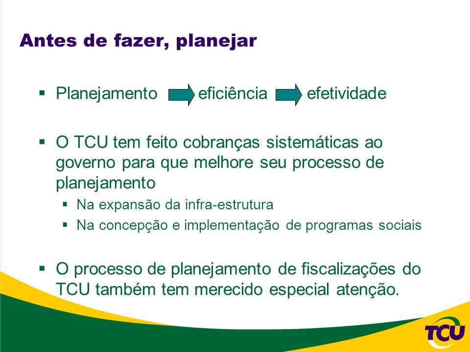 Antes de fazer, planejar Planejamento eficiência efetividade O TCU tem feito cobranças sistemáticas ao governo para que melhore seu processo de planej