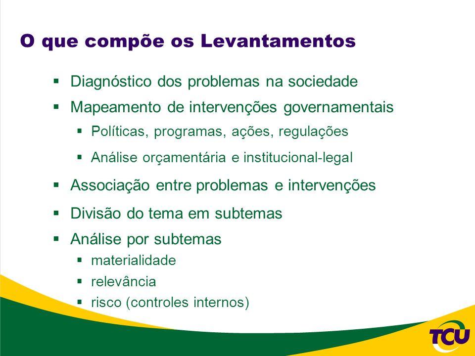 O que compõe os Levantamentos Diagnóstico dos problemas na sociedade Mapeamento de intervenções governamentais Políticas, programas, ações, regulações