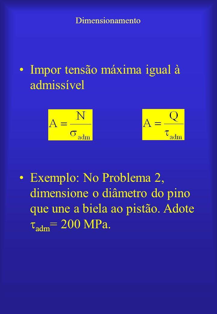 Dimensionamento Impor tensão máxima igual à admissível Exemplo: No Problema 2, dimensione o diâmetro do pino que une a biela ao pistão. Adote adm = 20