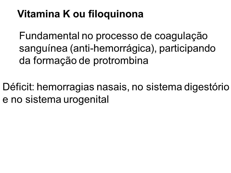 Vitamina K ou filoquinona Fundamental no processo de coagulação sanguínea (anti-hemorrágica), participando da formação de protrombina Déficit: hemorra