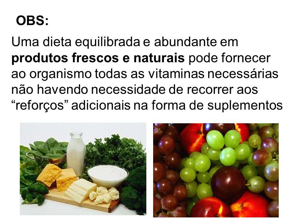 Uma dieta equilibrada e abundante em produtos frescos e naturais pode fornecer ao organismo todas as vitaminas necessárias não havendo necessidade de