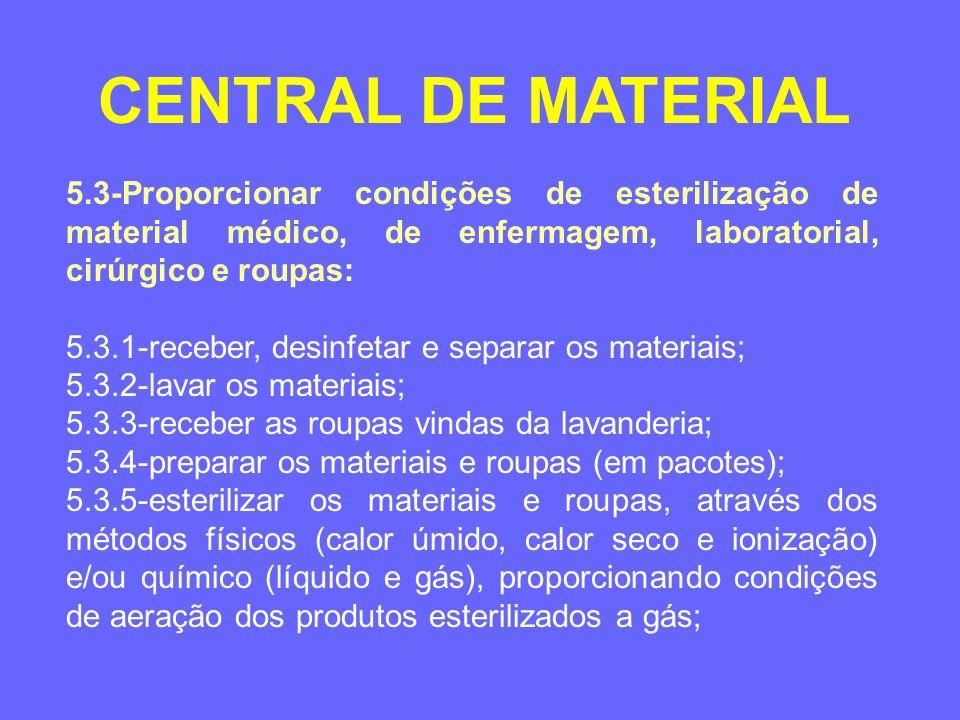 5.3-Proporcionar condições de esterilização de material médico, de enfermagem, laboratorial, cirúrgico e roupas: 5.3.6-fazer o controle microbiológico e de validade dos produtos esterilizados; 5.3.7-armazenar os materiais e roupas esterilizadas; 5.3.8-distribuir os materiais e roupas esterilizadas; e 5.3.9-zelar pela proteção e segurança dos operadores.