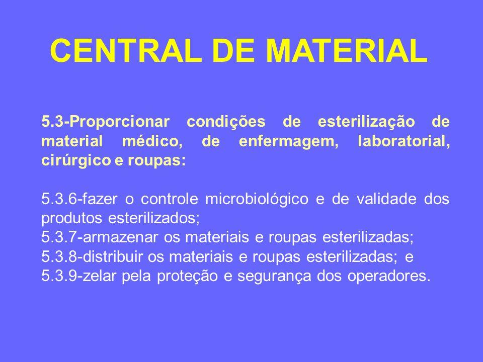 5.3-Proporcionar condições de esterilização de material médico, de enfermagem, laboratorial, cirúrgico e roupas: 5.3.6-fazer o controle microbiológico