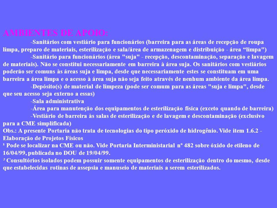 AMBIENTES DE APOIO: -Sanitários com vestiário para funcionários (barreira para as áreas de recepção de roupa limpa, preparo de materiais, esterilizaçã