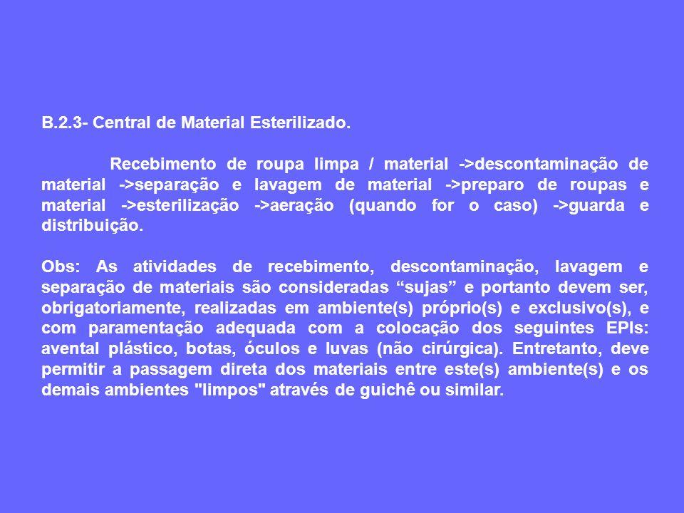 B.2.3- Central de Material Esterilizado. Recebimento de roupa limpa / material ->descontaminação de material ->separação e lavagem de material ->prepa