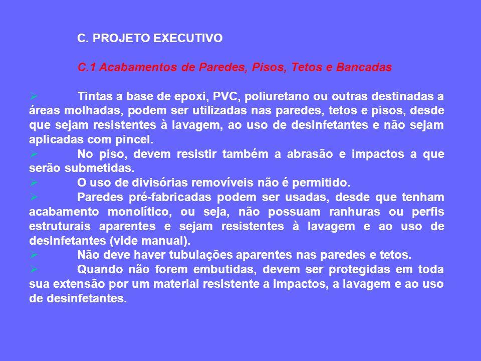 C. PROJETO EXECUTIVO C.1 Acabamentos de Paredes, Pisos, Tetos e Bancadas Tintas a base de epoxi, PVC, poliuretano ou outras destinadas a áreas molhada