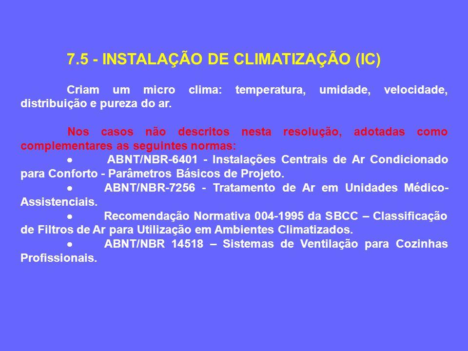 7.5 - INSTALAÇÃO DE CLIMATIZAÇÃO (IC) Criam um micro clima: temperatura, umidade, velocidade, distribuição e pureza do ar. Nos casos não descritos nes