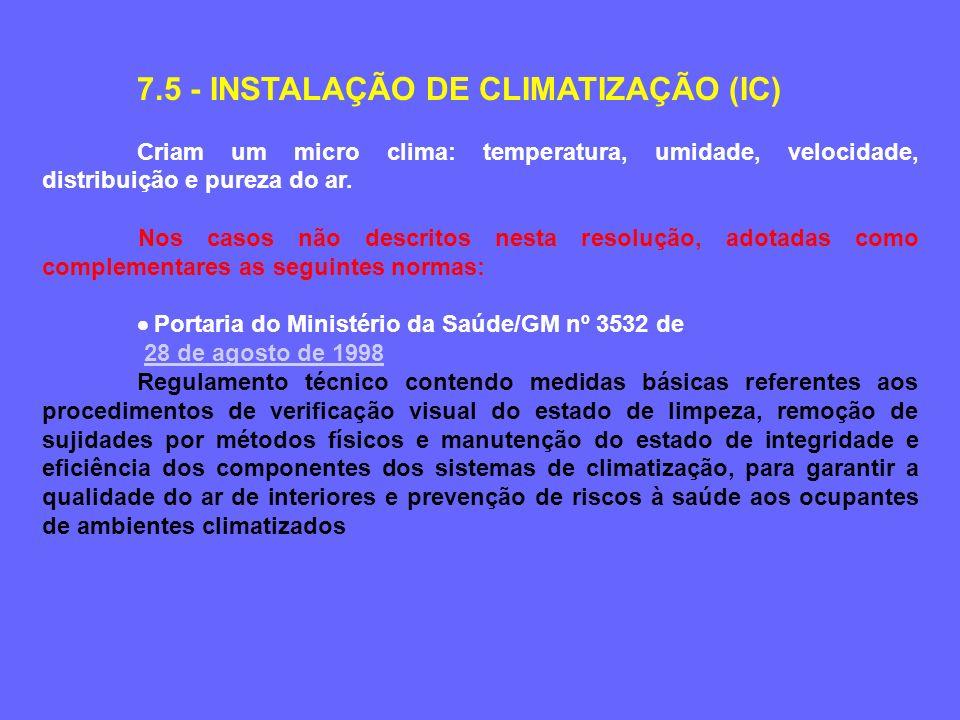 7.5 - INSTALAÇÃO DE CLIMATIZAÇÃO (IC) Criam um micro clima: temperatura, umidade, velocidade, distribuição e pureza do ar.