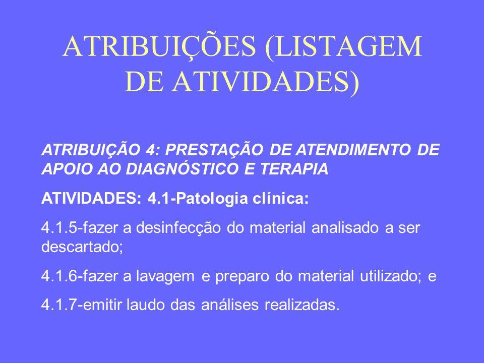 ATRIBUIÇÕES (LISTAGEM DE ATIVIDADES) ATRIBUIÇÃO 4: PRESTAÇÃO DE ATENDIMENTO DE APOIO AO DIAGNÓSTICO E TERAPIA ATIVIDADES: 4.1-Patologia clínica: 4.1.5