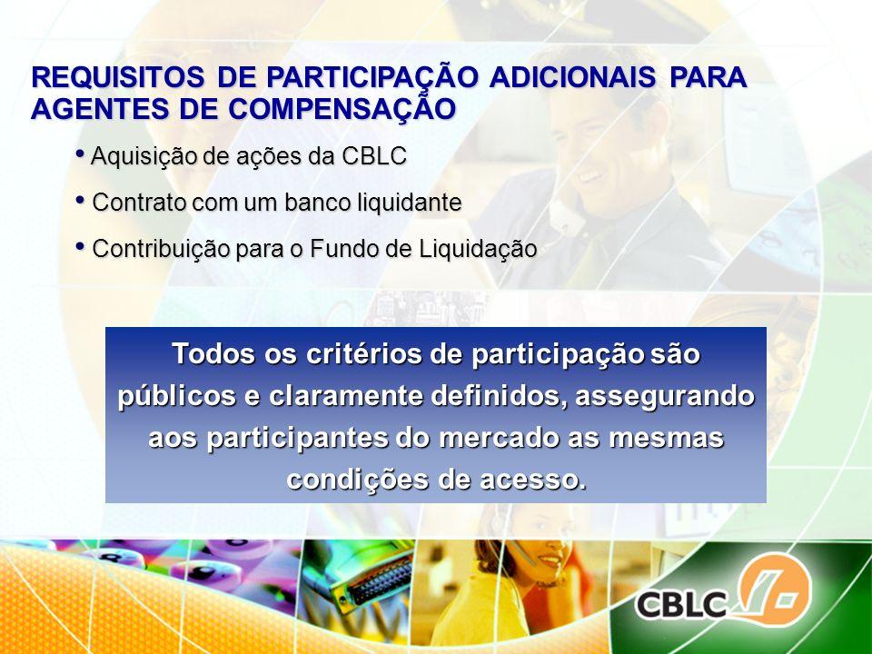 REQUISITOS DE PARTICIPAÇÃO ADICIONAIS PARA AGENTES DE COMPENSAÇÃO Aquisição de ações da CBLC Aquisição de ações da CBLC Contrato com um banco liquidan