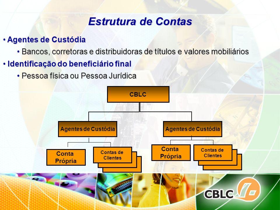 Estrutura de Contas Agentes de Custódia Agentes de Custódia Bancos, corretoras e distribuidoras de títulos e valores mobiliários Bancos, corretoras e