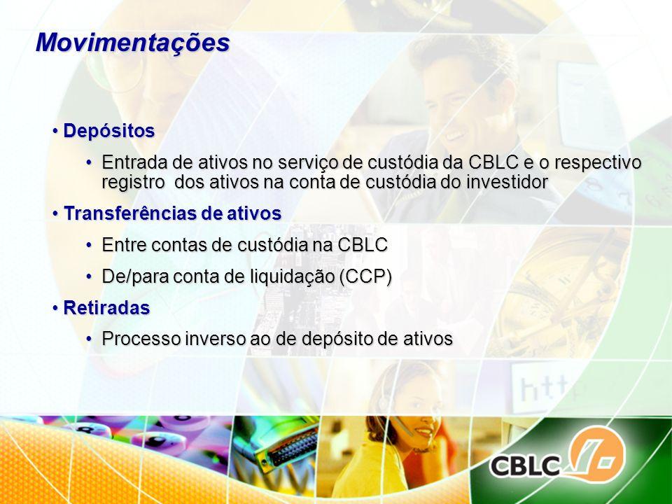 Movimentações Depósitos Depósitos Entrada de ativos no serviço de custódia da CBLC e o respectivo registro dos ativos na conta de custódia do investid