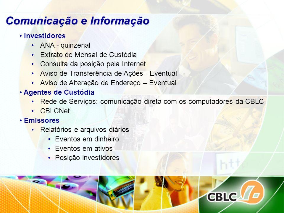Comunicação e Informação Investidores ANA - quinzenal Extrato de Mensal de Custódia Consulta da posição pela Internet Aviso de Transferência de Ações
