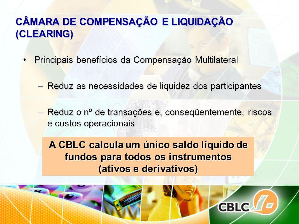 CÂMARA DE COMPENSAÇÃO E LIQUIDAÇÃO (CLEARING) Principais benefícios da Compensação MultilateralPrincipais benefícios da Compensação Multilateral –Redu