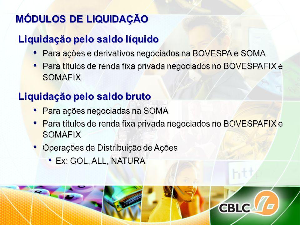 MÓDULOS DE LIQUIDAÇÃO Liquidação pelo saldo líquido Para ações e derivativos negociados na BOVESPA e SOMA Para ações e derivativos negociados na BOVES
