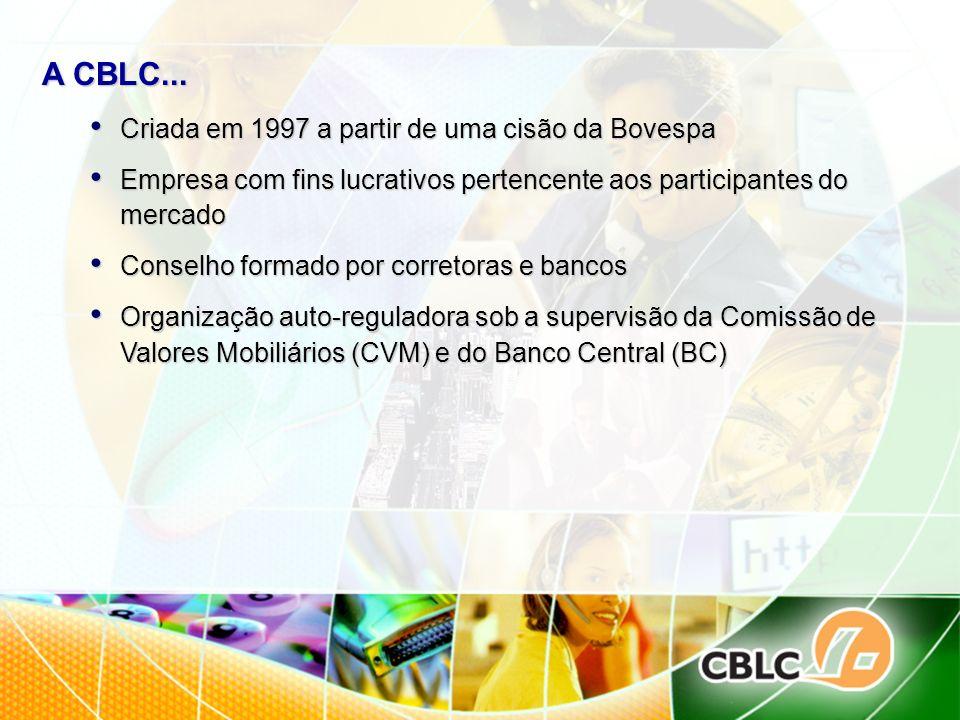 A CBLC... Criada em 1997 a partir de uma cisão da Bovespa Criada em 1997 a partir de uma cisão da Bovespa Empresa com fins lucrativos pertencente aos
