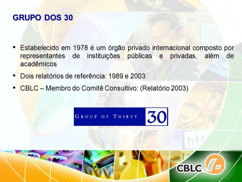 GRUPO DOS 30 Estabelecido em 1978 é um órgão privado internacional composto por representantes de instituições públicas e privadas, além de acadêmicos