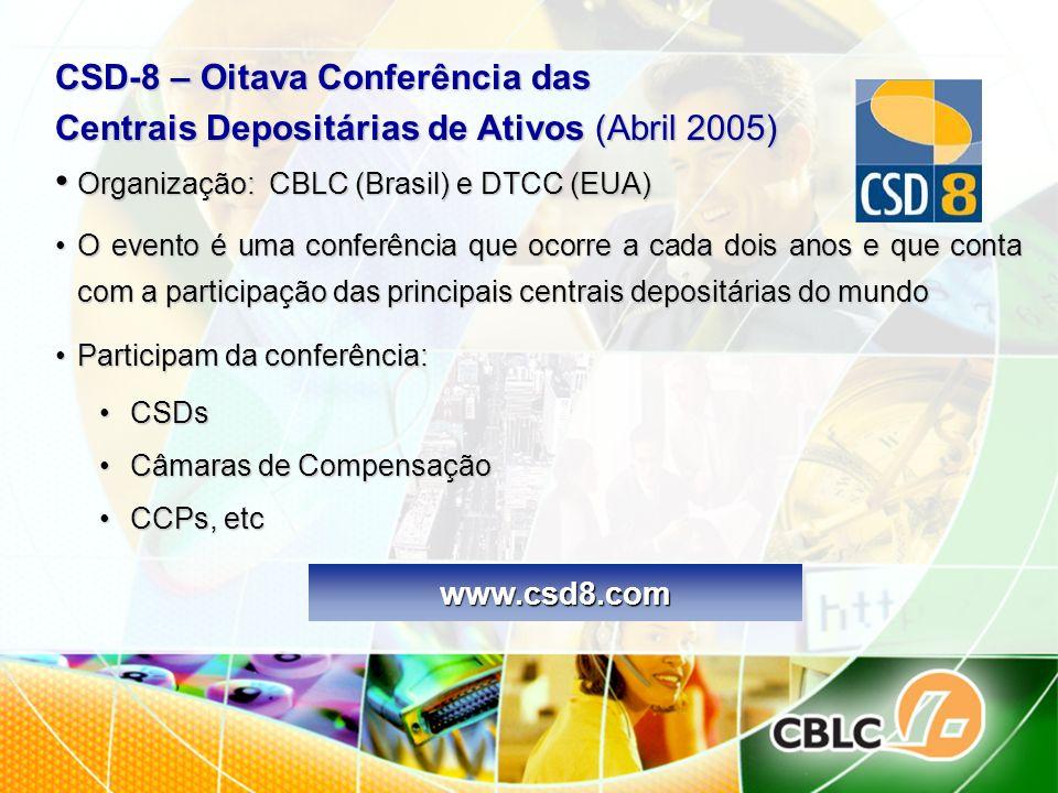 CSD-8 – Oitava Conferência das Centrais Depositárias de Ativos (Abril 2005) Organização: CBLC (Brasil) e DTCC (EUA) Organização: CBLC (Brasil) e DTCC