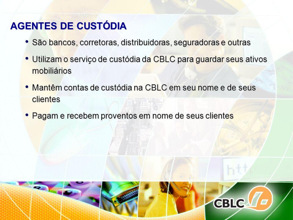AGENTES DE CUSTÓDIA São bancos, corretoras, distribuidoras, seguradoras e outras São bancos, corretoras, distribuidoras, seguradoras e outras Utilizam