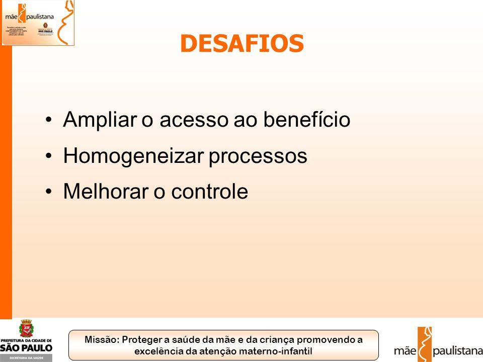 Missão: Proteger a saúde da mãe e da criança promovendo a excelência da atenção materno-infantil DESAFIOS Ampliar o acesso ao benefício Homogeneizar p