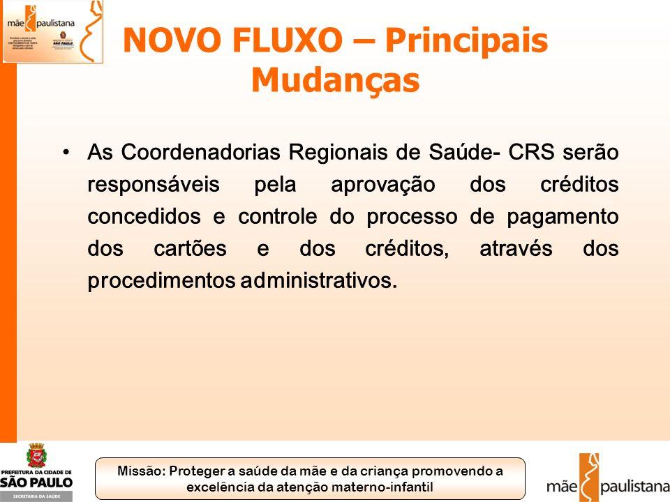 Missão: Proteger a saúde da mãe e da criança promovendo a excelência da atenção materno-infantil NOVO FLUXO – Principais Mudanças As Coordenadorias Re