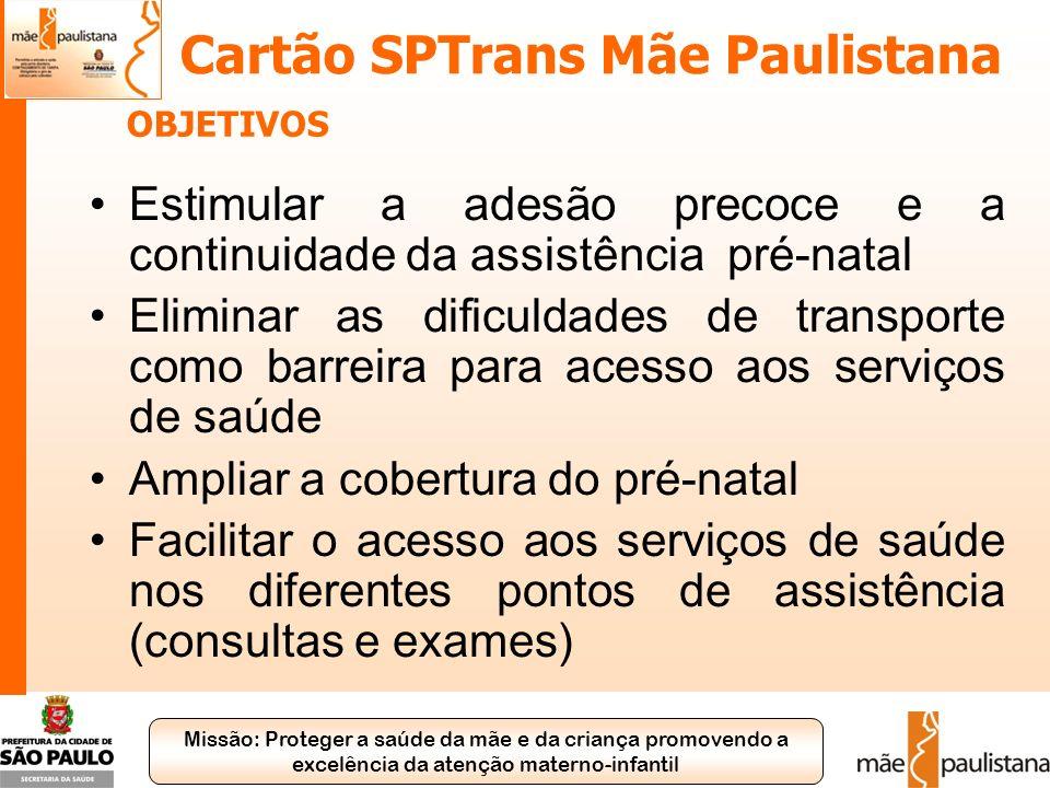 Missão: Proteger a saúde da mãe e da criança promovendo a excelência da atenção materno-infantil Cartão SPTrans Mãe Paulistana Estimular a adesão prec