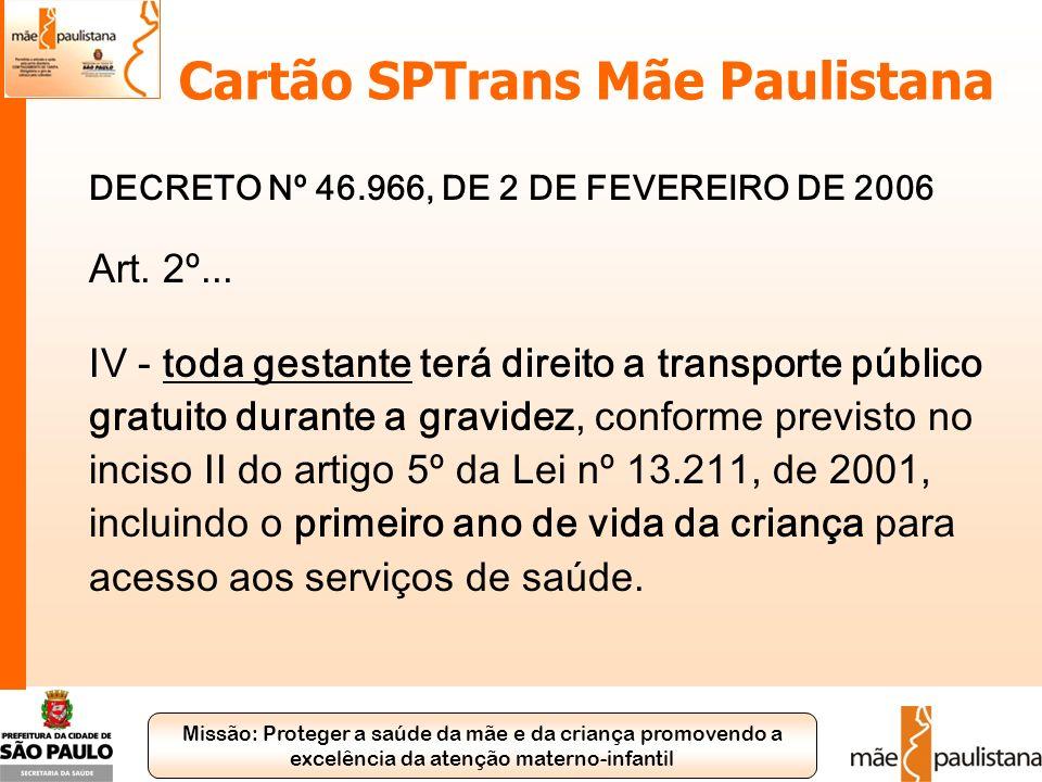 Missão: Proteger a saúde da mãe e da criança promovendo a excelência da atenção materno-infantil Cartão SPTrans Mãe Paulistana DECRETO Nº 46.966, DE 2