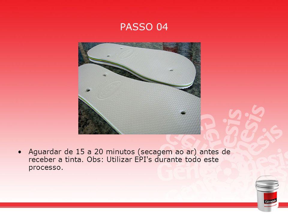 PASSO 04 Aguardar de 15 a 20 minutos (secagem ao ar) antes de receber a tinta. Obs: Utilizar EPI's durante todo este processo.