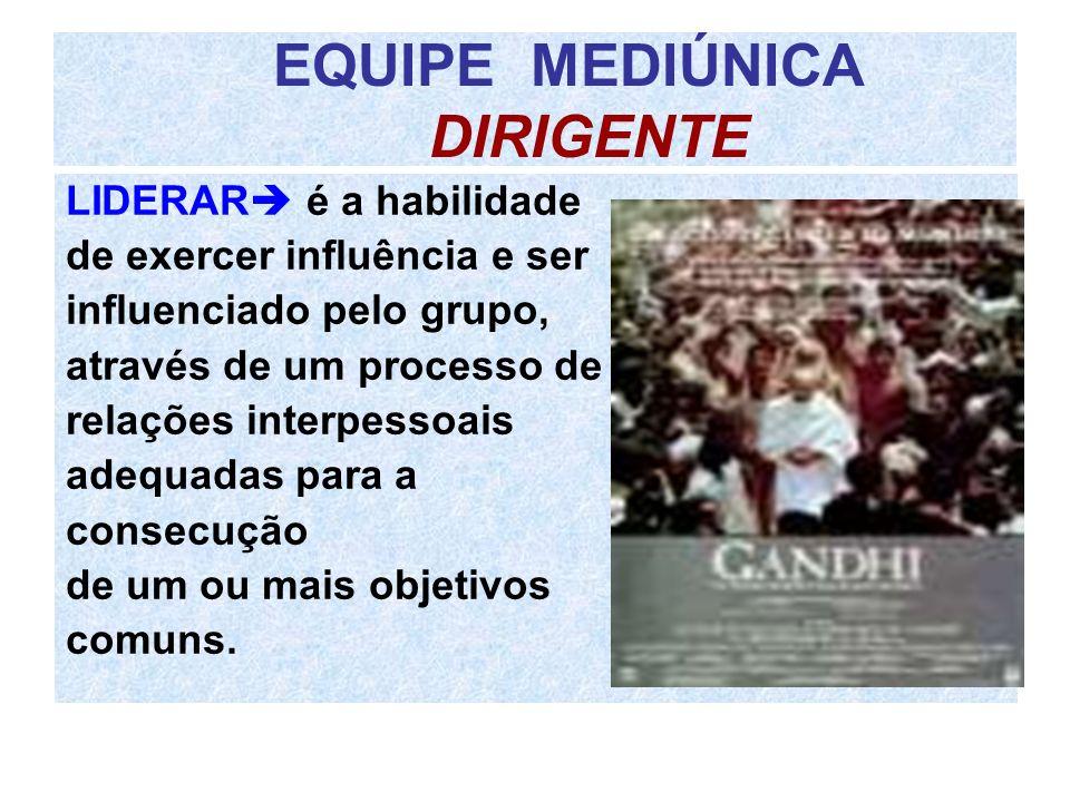 EQUIPE MEDIÚNICA DIRIGENTE LIDERAR é a habilidade de exercer influência e ser influenciado pelo grupo, através de um processo de relações interpessoai