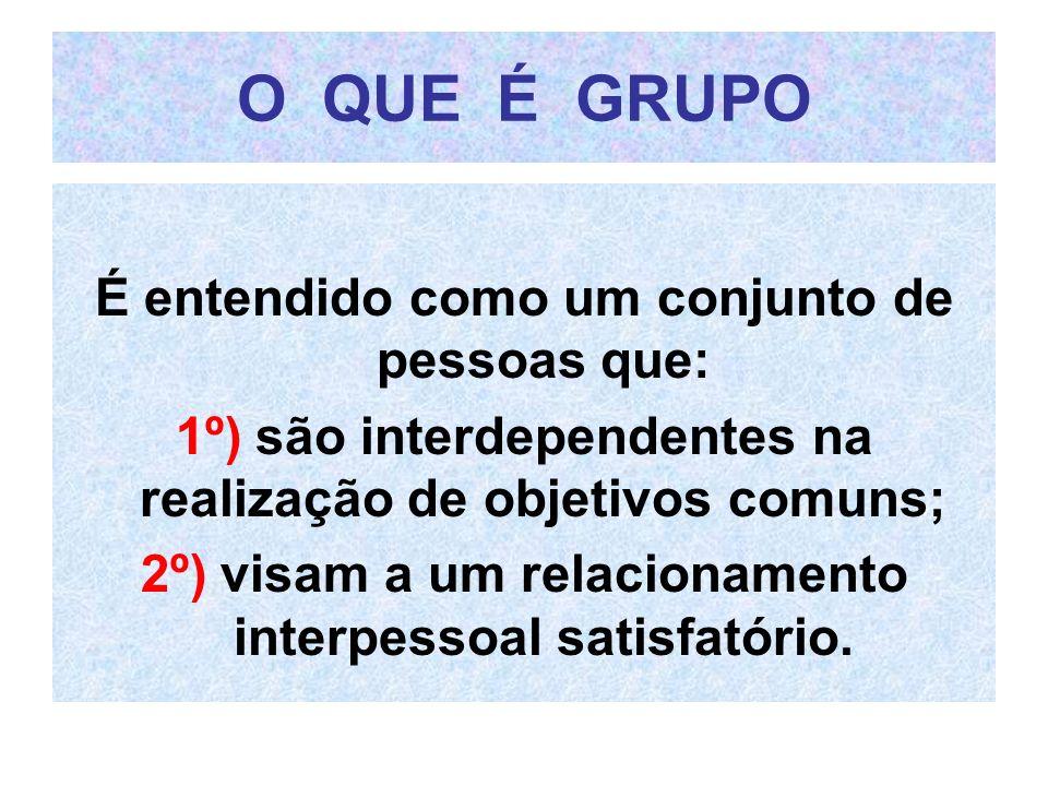 O QUE É GRUPO É entendido como um conjunto de pessoas que: 1º) são interdependentes na realização de objetivos comuns; 2º) visam a um relacionamento i