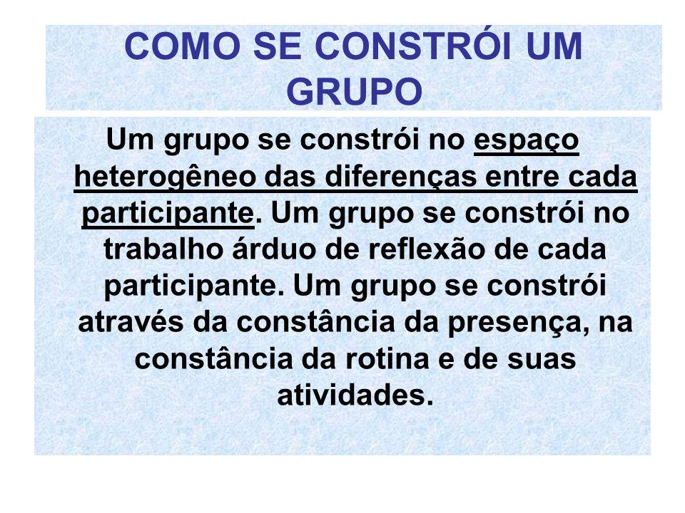 COMO SE CONSTRÓI UM GRUPO Um grupo se constrói no espaço heterogêneo das diferenças entre cada participante. Um grupo se constrói no trabalho árduo de