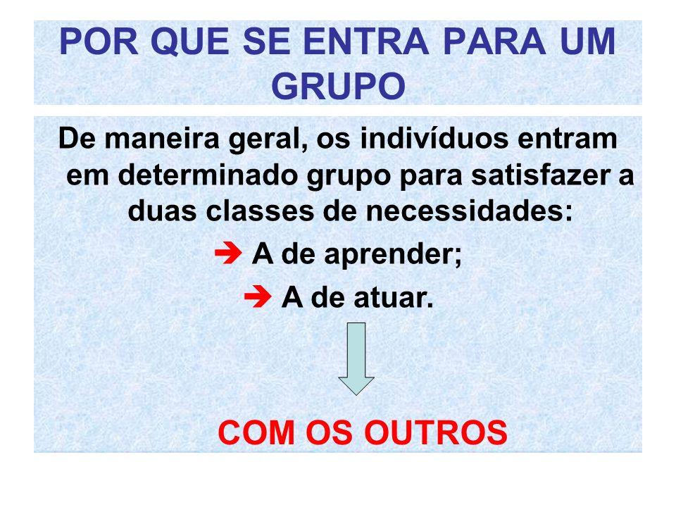 POR QUE SE ENTRA PARA UM GRUPO De maneira geral, ao indivíduos entram em determinado grupo para satisfazer a duas classes de necessidades: De maneira