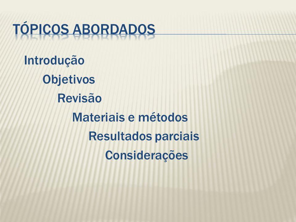 Introdução Objetivos Revisão Materiais e métodos Resultados parciais Considerações