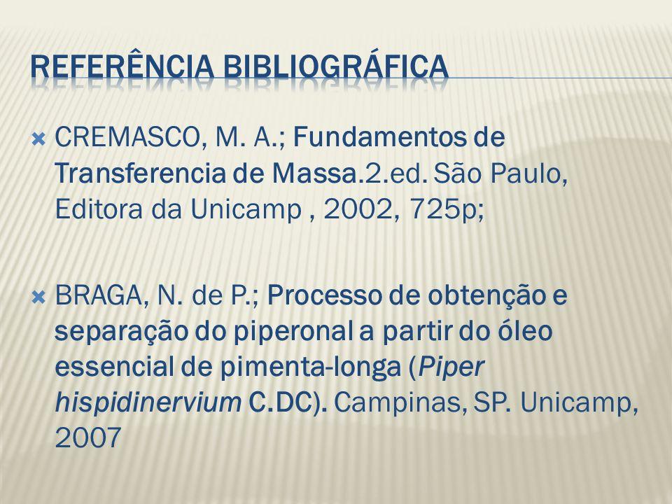 CREMASCO, M. A.; Fundamentos de Transferencia de Massa.2.ed. São Paulo, Editora da Unicamp, 2002, 725p; BRAGA, N. de P.; Processo de obtenção e separa