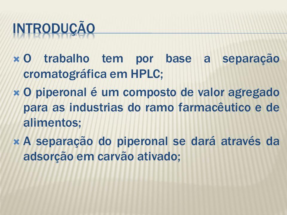 O trabalho tem por base a separação cromatográfica em HPLC; O piperonal é um composto de valor agregado para as industrias do ramo farmacêutico e de a