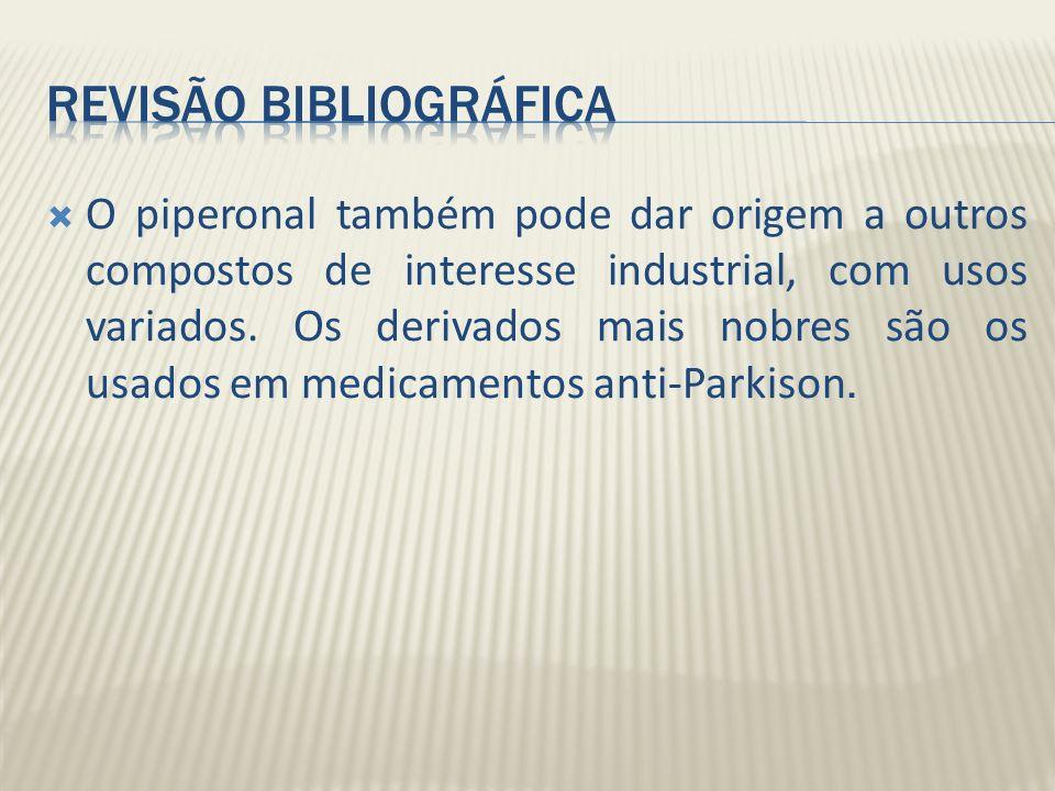 O piperonal também pode dar origem a outros compostos de interesse industrial, com usos variados. Os derivados mais nobres são os usados em medicament