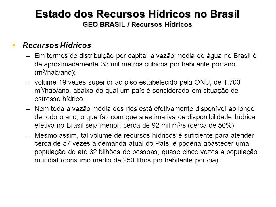 Estado dos Recursos Hídricos no Brasil GEO BRASIL / Recursos Hídricos Recursos Hídricos – –Em termos de distribuição per capita, a vazão média de água